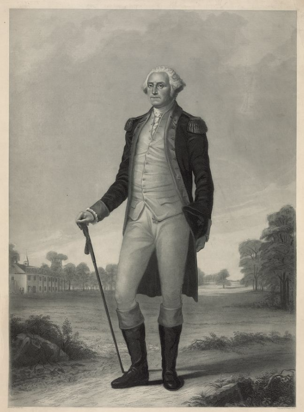 "Title Washington / painted by T. Hicks N.A. ; engraved by H. Wright Smith. Summary Print showing George Washington, full-length portrait, standing, facing slightly left, with Mount Vernon in the left background. Contributor Names Smith, Henry Wright, 1828-, engraver Hicks, Thomas, 1823-1890, artist Created / Published [185-] Subject Headings - Washington, George,--1732-1799 Format Headings Engravings--1850-1860. Portrait prints--1850-1860. Notes - Title from item. - Library has two impressions. - Hart, 667 (variant) - Exhibited: ""Creating the United States,"" the Library of Congress, Washington, D.C., 2011-2012. Medium 1 print : engraving printed in blue ink ; 60.7 x 43.9 cm (plate), 71 x 55.8 cm (sheet) Call Number/Physical Location PGA - Smith (H.W.)--Washington (D size) [P&P] PGA - Smith (H.W.)--Washington Another impression, tinted. Repository Library of Congress Prints and Photographs Division Washington, D.C. 20540 USA http://hdl.loc.gov/loc.pnp/pp.print Digital Id pga 03318 //hdl.loc.gov/loc.pnp/pga.03318 pga 03319 //hdl.loc.gov/loc.pnp/pga.03319 Library of Congress Control Number 2006677490 Reproduction Number LC-DIG-pga-03318 (digital file from original print) LC-DIG-pga-03319 (digital file from tinted impression of original print) Rights Advisory No known restrictions on publication."
