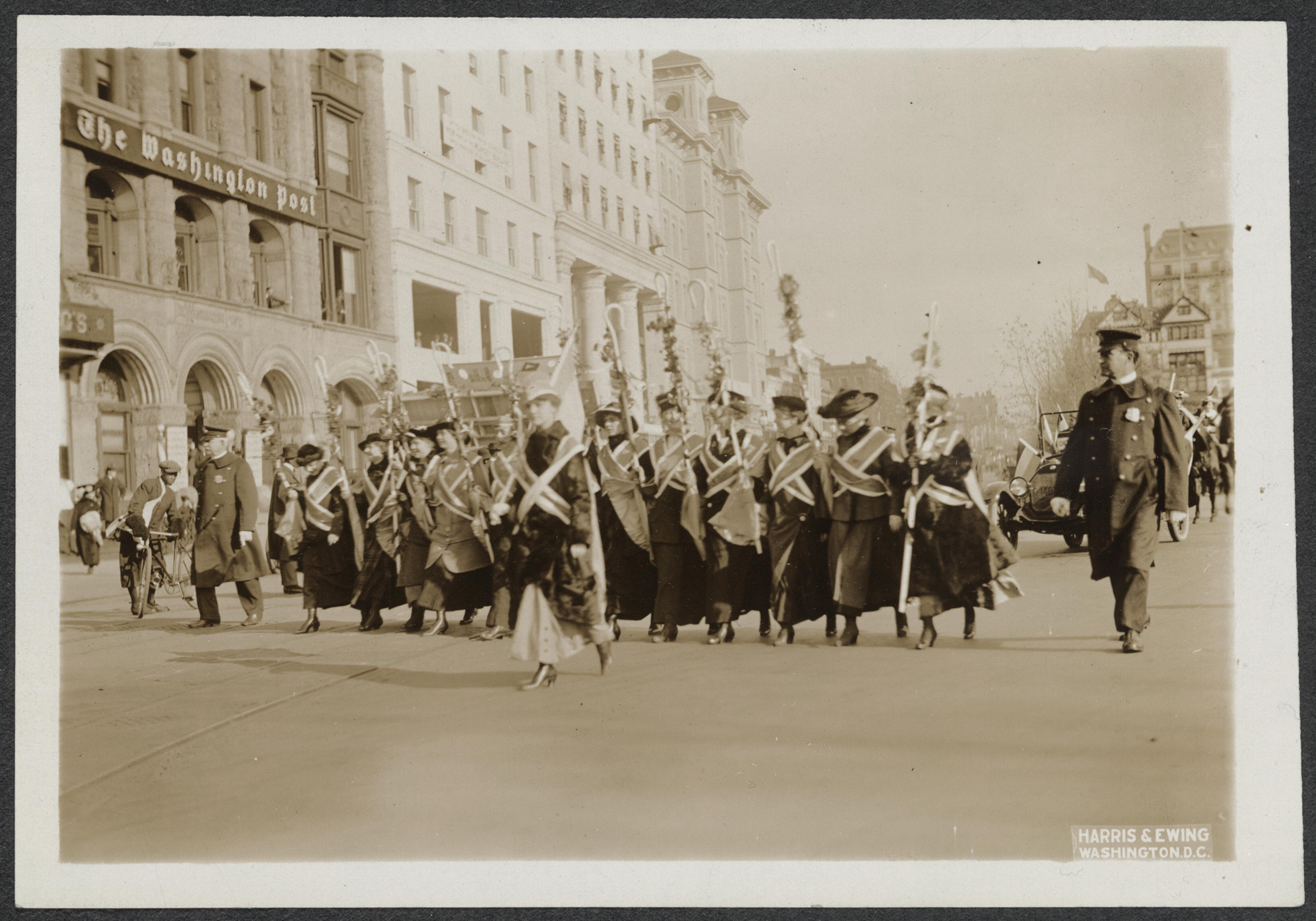 About this Item: Women marching in national suffrage demonstration in Washington, D.C., May 9, 1914.