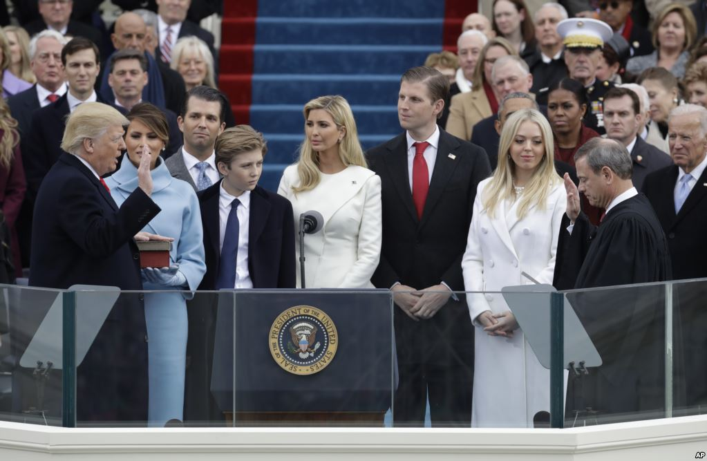 Photo of Donald Trump taking the oath of office at the 2017 inaguration.
