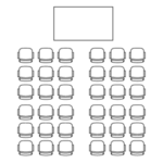 Icon of theater seating with 36 seats