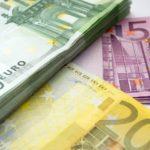 100, 200, and 500 euro bills