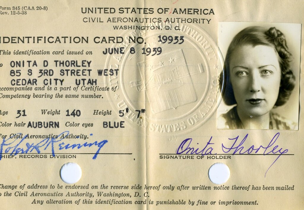 ID card for Onita D. Thorley; information in adjacent table cell