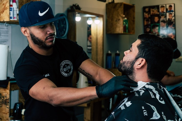 Two men in a barber shop