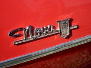 The emblem of a Chevy Nova car