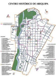 map of the historical center of Arequipa