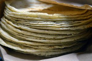 stack of white corn tortillas