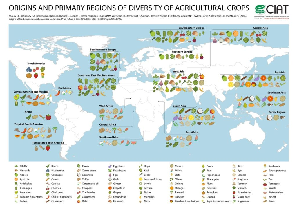 map of origins and primary regions of diversity of agricultural cops