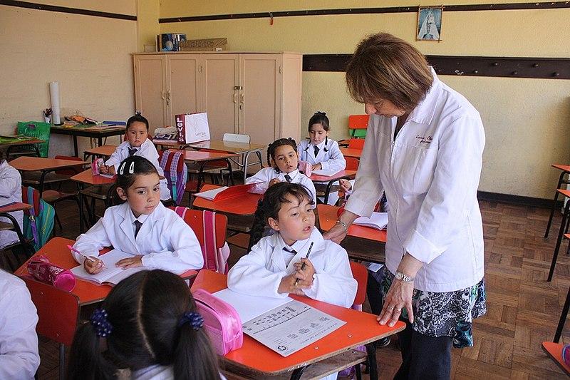 One female teacher and 6 girls