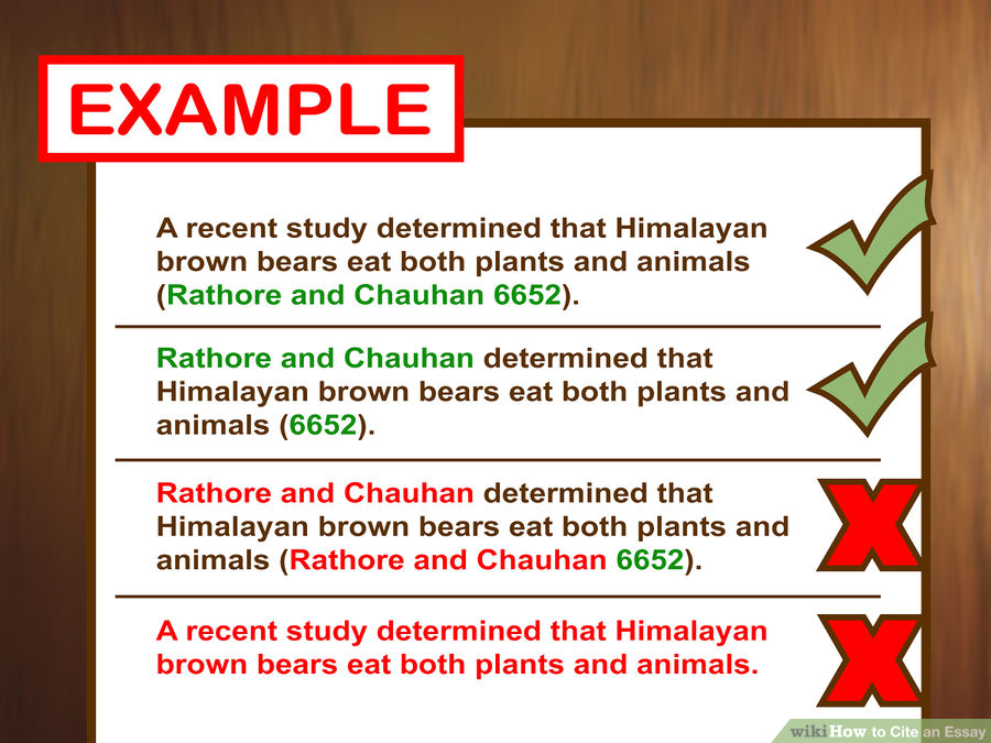 Correct: A recent study determined that Himalayan brown bears eat both plants and animals (Rathore and Chauhan 6652). Correct: Rathore and Chauhan determined that Himalayan brown bears eat both plants and animals (6652). Incorrect: Rathore and Chauhan determined that Himalayan brown bears eat both plants and animals (Rathore and Chauhan 6652). — You should not list the author(s) parenthetically if that information is in the sentence itself. Plagiarism: A recent study determined that Himalayan brown bears eat both plants and animals. — The writer did not attribute proprietary information to the people who conducted the study.