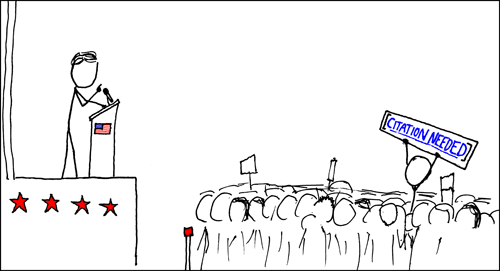 """Stick figure drawing of a politician speaking at pulpit, with someone in the audience holding up a sign saying """"citation needed"""""""