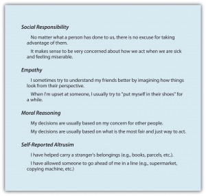 Figure 8.10 Measuring the Altruistic Personality. This scale measures individual differences in willingness to provide help—the prosocial personality. The scale includes questions on four dimensions of altruism. Adapted from Penner, Fritzsche, Craiger, and Freifeld (1995).