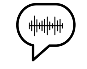 icon of a speech bubble containing voice level audio image