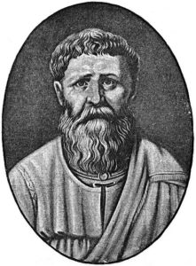 Oval-shaped engraving of a bearded monk