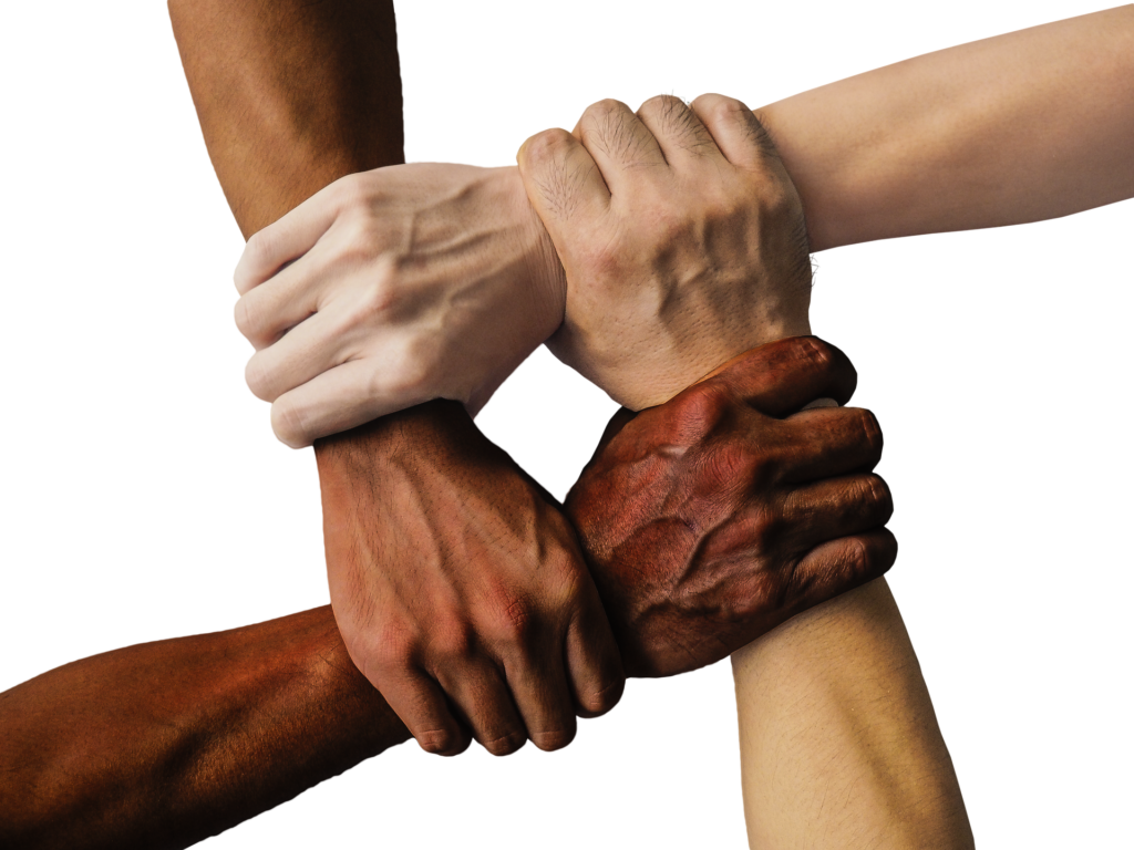 Four hands. from a spectrum of skin tones, clasp the wrist of the next person to form a closed square