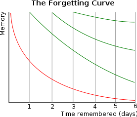 Graph with memory on the vertical axis and time remembered (days) on the horizontal axis.