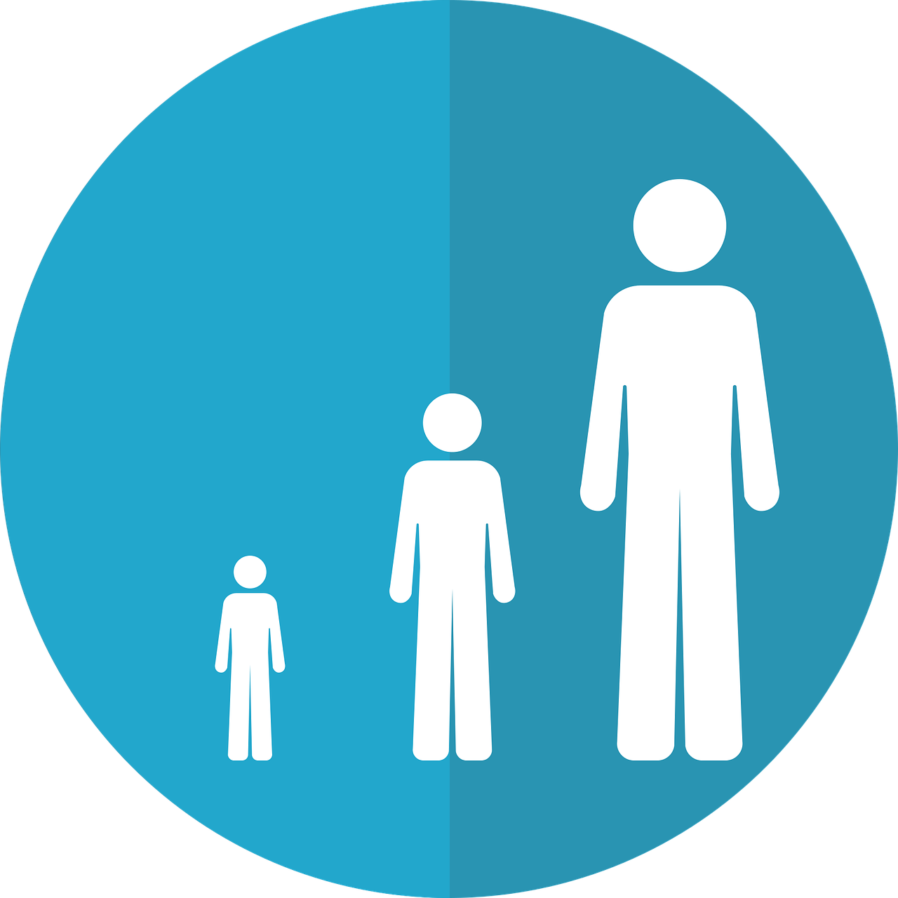 Icon of a child, teenager, and adult.