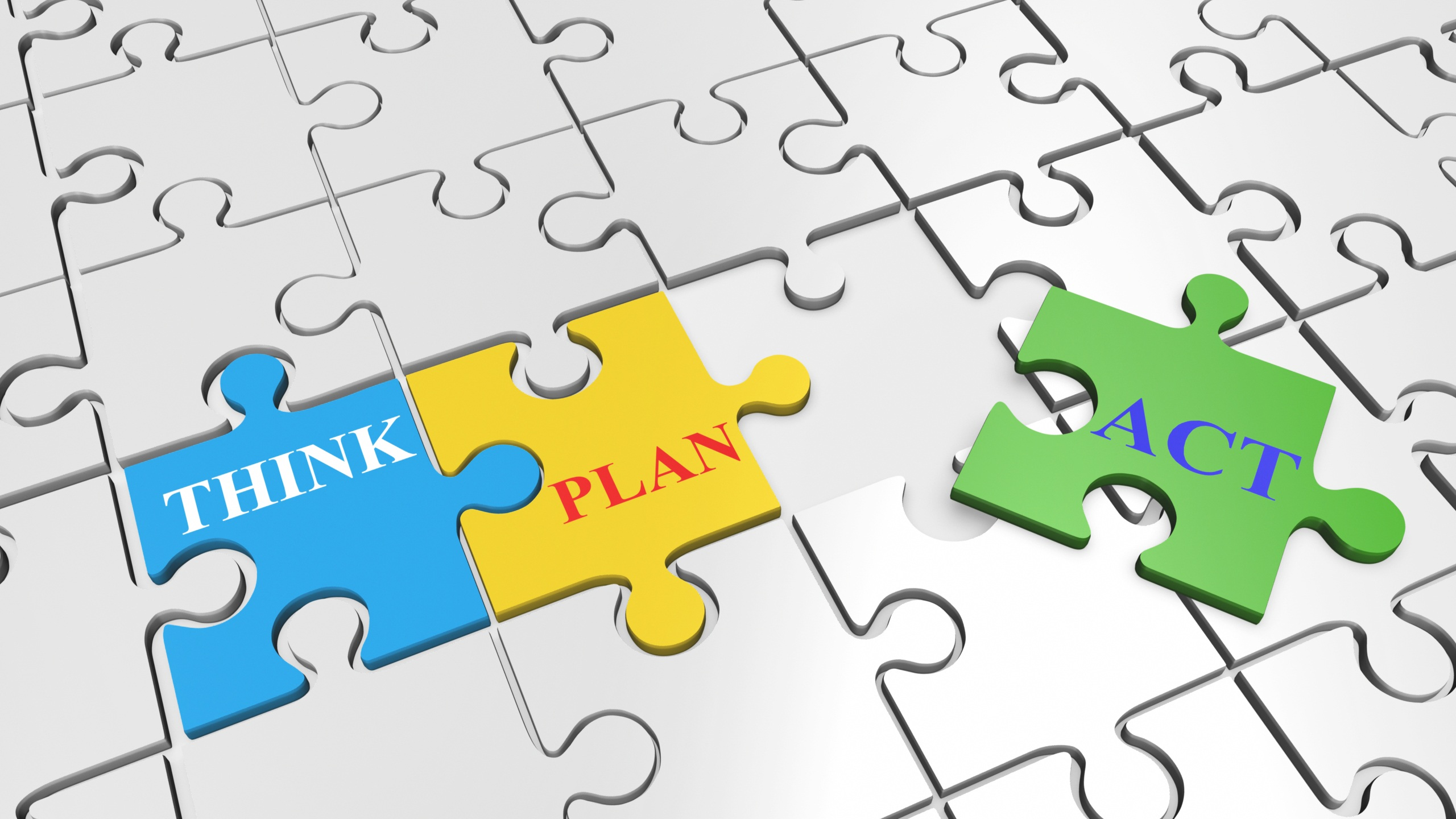 think plan act puzzle pieces