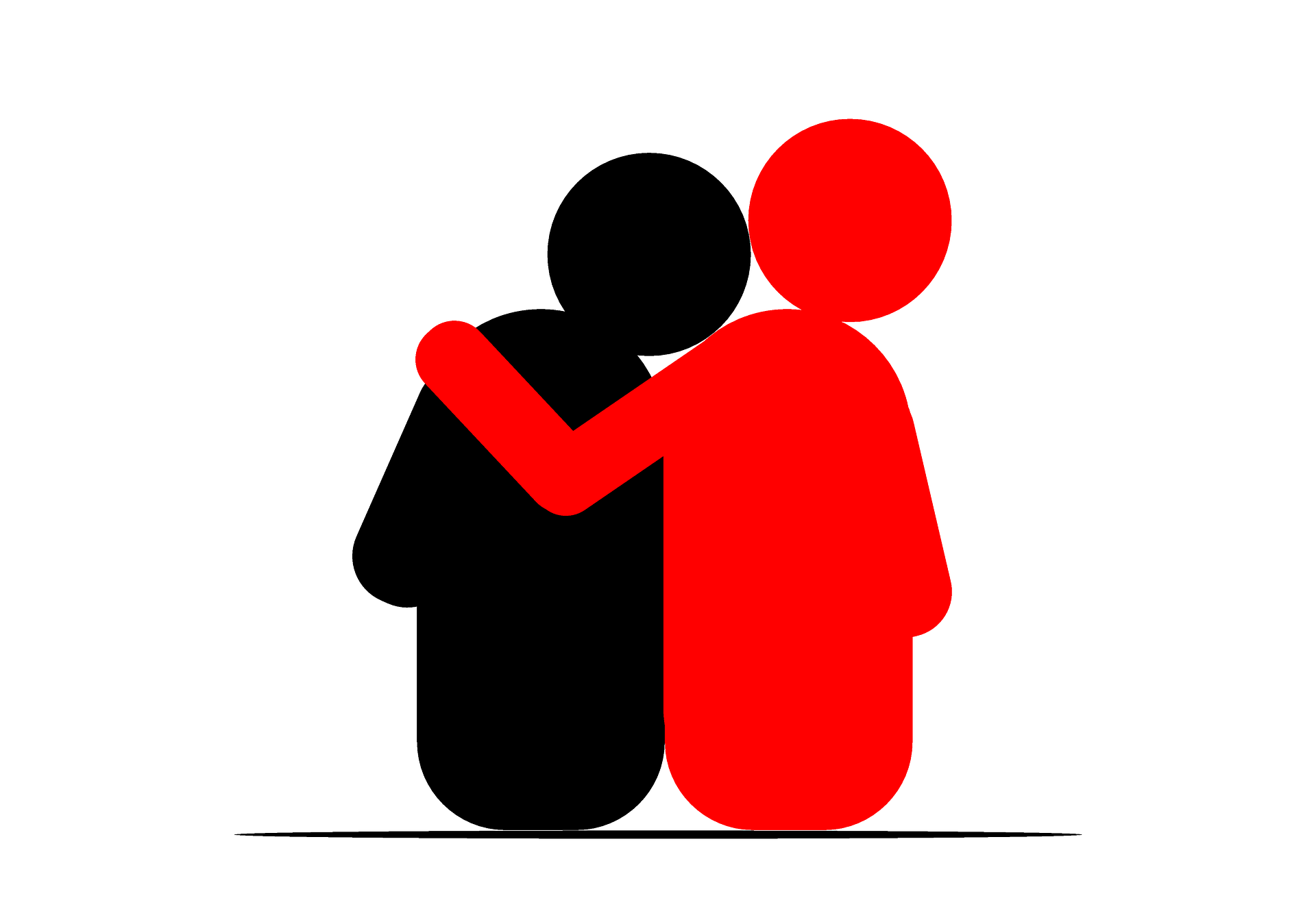 empathy, arm over shoulder showing support