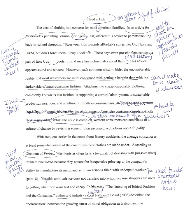 Rough draft of paper showing a typed essay with lots of handwritten notes such as: provide context here, check on spacing requirements, can I make this claim? need more content here, cut this, I like this part, and so forth. Many sentences and words are underlined or circled.