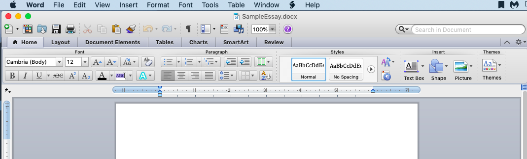 Screenshot of the toolbar and options in a Microsoft Word Document.