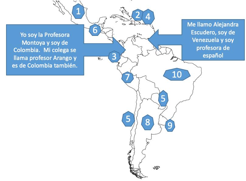 """Map of Central and South America. Arrows point to Colombia and Venezuela. Text boxes read: """"Yo soy la Profesora Montoya y soy de Colombia. Mi colega se llama profesor Arango y es de Colombia también."""" and """"Me llamo Alejandra Escudero, soy de Venezuela y soy profesora de español."""""""