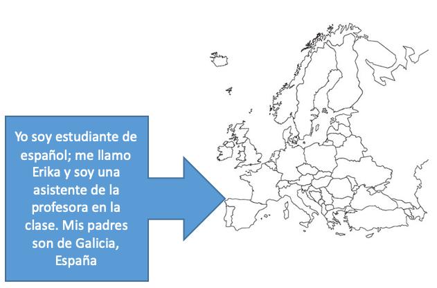"""Map of Europe. An arrow points to Spain with a textbox reading: """"Yo soy estudiante de español; me llamo Erika y soy una asistente de la profesora en la clase. Mis padres son de Galicia, España."""""""