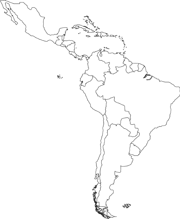 Blank map of central and south america