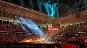 A picture of the Super Bowl halftime show, taken from the crowd.