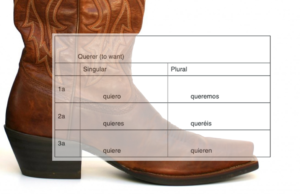 Picture of a boot with the conjugation chart for querer superimposed on it. Within the boot are the conjugations quiero, quieres, quiere and quieren. Outside the boot are queremos and queréis.
