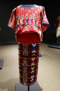 Brightly colored, woven Huipil, skirt, belt,