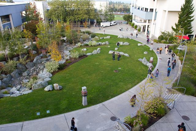 Aerial view of campus walkway