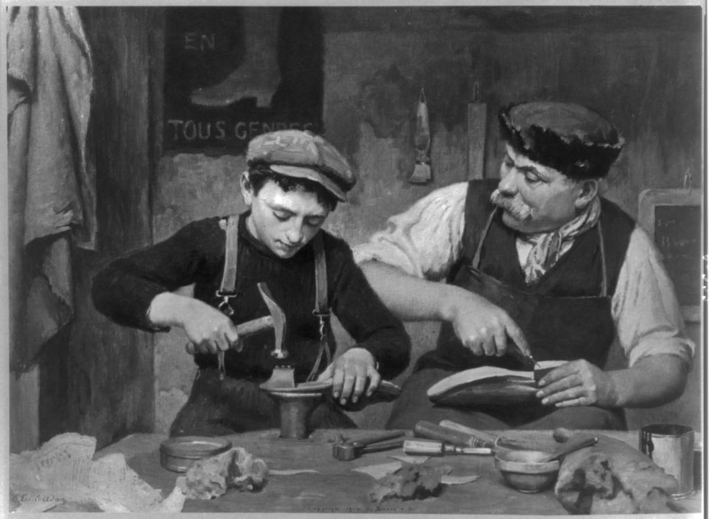 Black and white painting of a cobbler and apprentice at a workbench