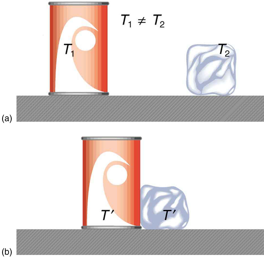 In figure a there is a soft drink can and an ice cube placed on a surface at a distance from each other. The temperatures of the can and the ice cube are T one and T two, respectively, where T one is not equal to T two. In figure b, the soft drink can and the ice cube are placed in contact on the surface. The temperature of both is T prime.
