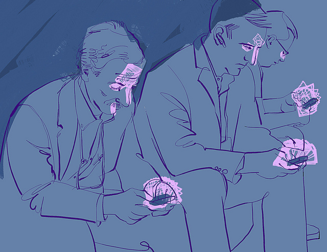 Drawing in shades of blue of three men in suits, seated, looking at purple phones which reflect purple light back on their faces