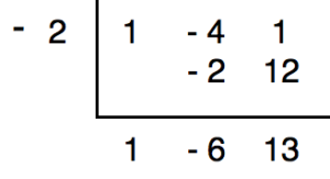Synthetic division of the polynomial x^2-4x+1 by x+2 in which it only contains the coefficients of each polynomial.