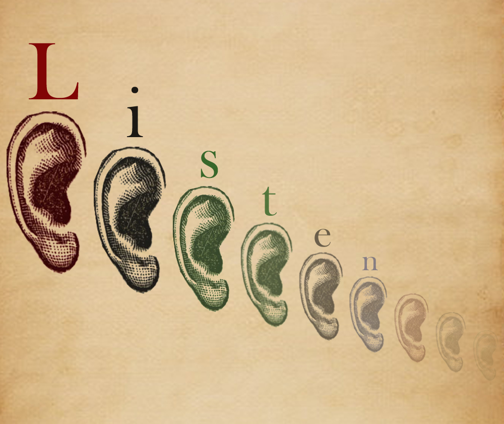 Drawing of eight ears in a line. Above is the word LISTEN