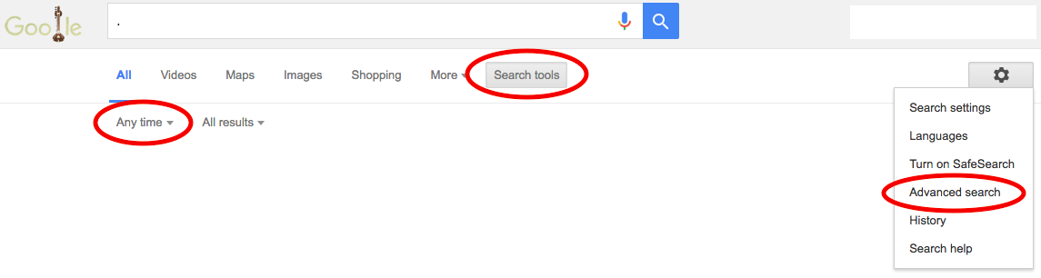 Google Search Tips screenshot showing the location of Search Tools below the google search bar (with the option to choose a timeframe below that) and advanced search in the right hand side of the screen under the settings option.