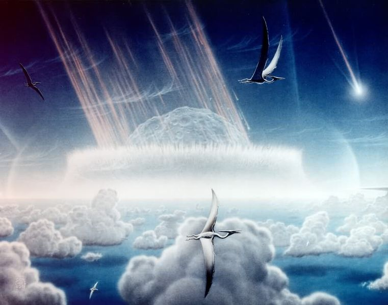An asteroid slamming into tropical, shallow seas of the sulfur-rich Yucatan Peninsula. Shown in this painting are pterodactyls, flying reptiles with wingspans of up to 50 feet, gliding above low tropical clouds.