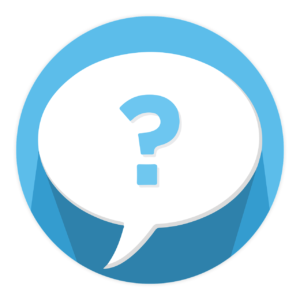 question mark in speech bubble agains blue circle background