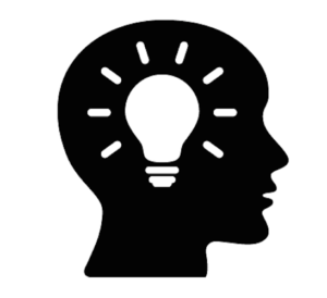 Icon of head with a lightbulb inside