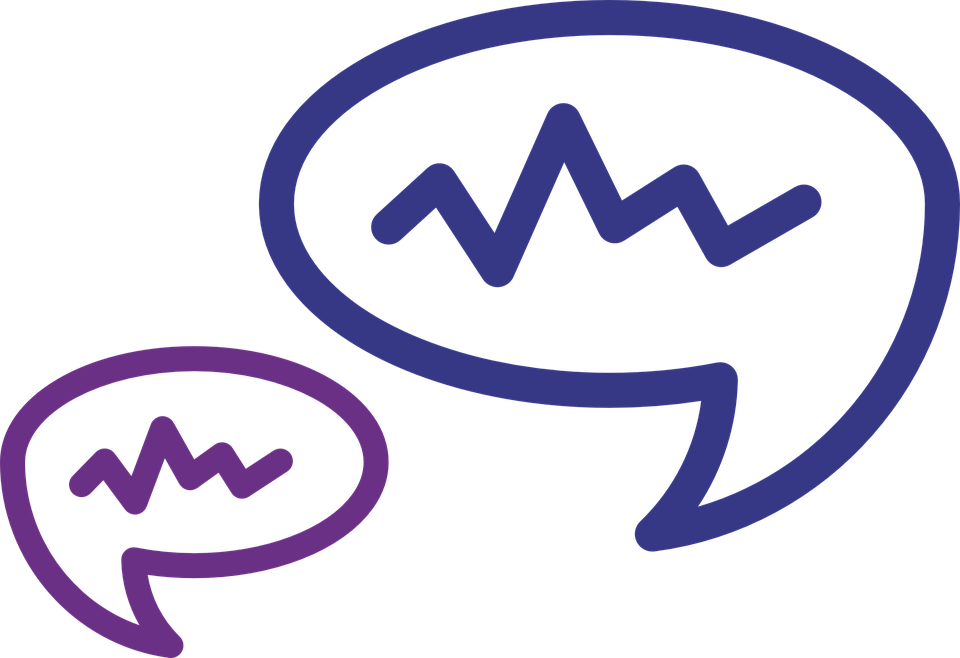 two speech bubbles with scribbles inside them, indicating conversation