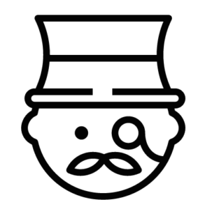 Icon of man wearing top hat and monocle