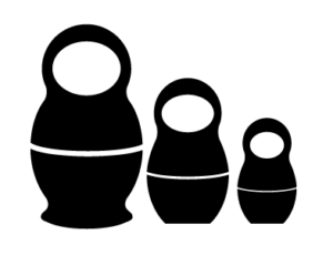 Icon of 3 Russian nesting dolls, larger to smaller
