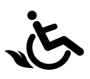 Icon of person in wheelchair, tilted back, flames coming from wheel