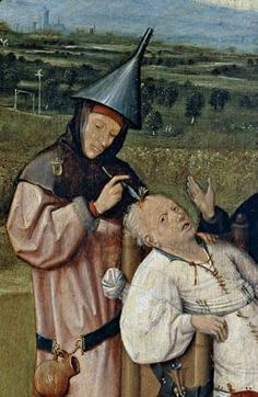 "Bosch painting depicting a man boring a hole in the top of the skull of a seated man, attempting to extract his ""madness"""