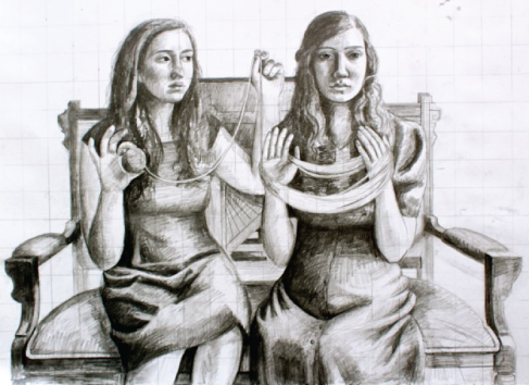 Illustration of two people sitting on a bench. One winds thread around her hands; the other holds the loose end and the ball of thread.