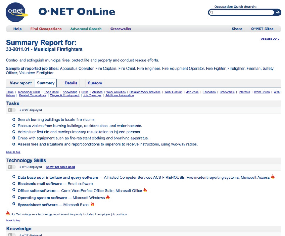 """A screenshot of a website called """"O-net online."""" The page is a Summary report for Municipal Firefighters. Under the heading is a definition: """"control and extinguish municipal fires, protect life and property and conduct rescue efforts."""" There is a sample of reported job titles including Apparatus operator, fire captain, fire chief, fire engineer, fire equipment operator, fire figher, fireman, safety officer, volunteer firefighter. The page includes a summary of tasks including """"Search burning buildings to locate fire victims, rescue victims from burning buildings, ancient sites, and water hazards, administer first aid and cardiopulmonary resuscitation to injured persons, dress with equipment such as fire-resistant clothing and breathing apparatus, assess fires and situations and report conditions to superiors to receive instructions, using two-way radios."""" The summary of technology skills includes """"Data base user interface and query software—Affiliated Computer Services ACS Firehouse; fire incident reporting systems Microsoft Access; electronic mail software—email software; Office suite software—Corel WordPerfect Office Suit, Microsoft Office; Operating system software—Microsoft Windows; Spreadsheet software—Microsoft Excel."""""""