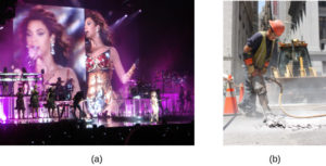 Photograph A shows Beyoncé performing at a concert. Photograph B shows a construction worker operating a jackhammer.