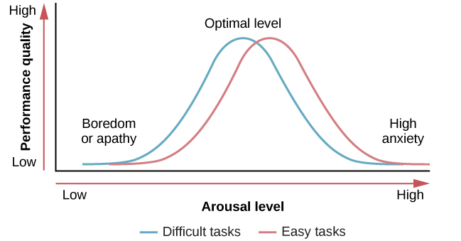 """A line graph has an x-axis labeled """"arousal level"""" with an arrow indicating """"low"""" to """"high"""" and a y-axis labeled """"performance quality"""" with an arrow indicating """"low"""" to """"high."""" Two curves charts optimal arousal, one for difficult tasks and the other for easy tasks. The optimal level for easy tasks is reached with slightly higher arousal levels than for difficult tasks."""