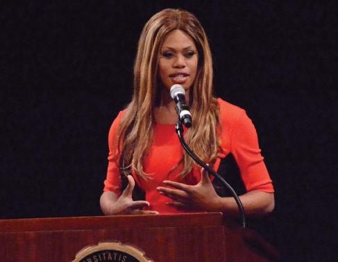 Laverne Cox delivers a speech.